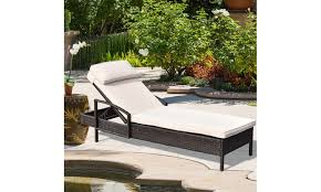 costway outdoor rattan chaise lounge chair with pillow
