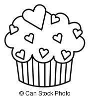 cupcake drawing black and white. Delighful White Heart Cupcake  Black And White Illustration Of A Cupcake On Drawing And S