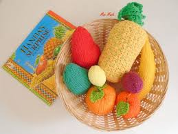 Hand knitted Handa's Surprise Toy Fruit Set with Basket & | Etsy | Handas surprise, Childrens crafts, Babies room childcare ideas