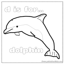 D Is For Dolphin Coloring Page Printables For Kids Free Word
