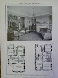 architecture houses blueprints. House Of Mrs. Lawrence Myers, San Francisco, CA, 1914 Lithograph, Schnaittacher Architecture Houses Blueprints