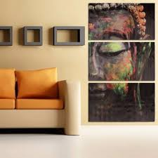 40x60cm buddha statues triple frameless canvas prints oil painting