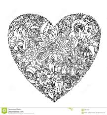 Small Picture Flowers In Heart Shape On A Pot Line Art Design For Coloring Book