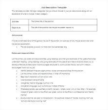 Job Description Template Word Format Voipersracing Co