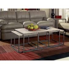 hammary modern basics 3 piece nesting coffee table in textured bronze 190 910