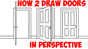 how to draw doors opened closed in two point perspective easy step by step drawing tutorial