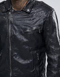 pepe jeans pepe ot leather biker jacket men black