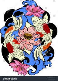 Koi Fish Design Vector Illustration Japanese Koi Fish Tattoo Stock Vector