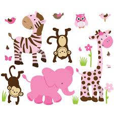 pink green jungle wall art for play rooms on jungle animal wall art with pink green jungle nursery wall decals for children