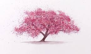 splattering watercolor to paint a cherry blossom sakura tree