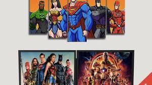 cartoon superheros dc comics canvas