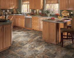 Stone Tiles For Kitchen Floor Dark Brown And Grey Vinyl Flooring For Kitchen With Cherry Wood