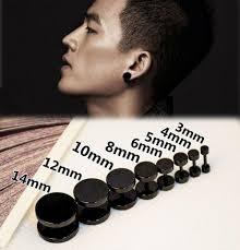 ตางห ตมห จว ตางหผชาย Black Gothic Barbell Earring Fashion Stainless Steel Round Plain Men Stud Earring Jewelry 8 Styles Drop Shipping 1