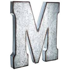 galvanized metal letter wall decor m