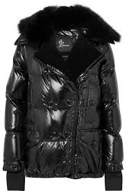 seelisberg shearling trimmed quilted glossed shell down jacket