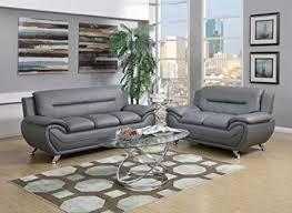 contemporary leather sofa sets. Simple Sets GTU Furniture Contemporary Bonded Leather Sofa U0026 Loveseat Set 2 Piece  Set GRAY On Sets