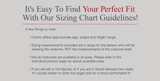 Size Charts Incharacter Costumes