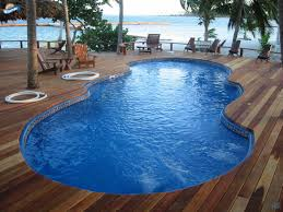 fiberglass pool shapes. Delighful Shapes Mirage Pool Shape With Wooden Deck In Caribbean Island With Fiberglass Pool Shapes S