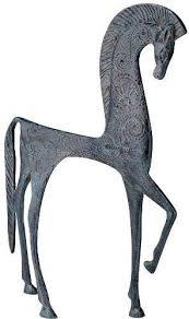 "10.5"" Hellenistic <b>Classic</b> Greek Ironwork Horse <b>Statue Sculpture</b> ..."