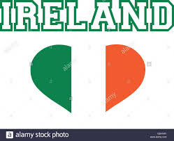 Ireland Word With Striped Heart In Green White Orange Stock Vector