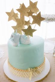 Cute Blue And Gold Baby Shower Cake On We Heart It