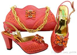 coral wedding shoes. Coral Wedding Shoes And Bag Set Women Shoes And Bag Set In Italy