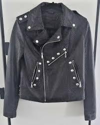belle vere studded zipper moto black pebbled leather jacket zip cuffs nwt sz m