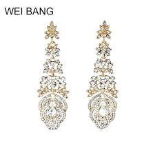 gold chandelier earrings for wedding luxury chandelier earrings for women gold color crystal rhinestone bride long gold chandelier earrings
