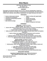 Cover Letter Personal Resume Template Babysitter Objective