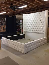 White King Size Tufted Bed Luxurious Wingback Tufted Bed White Bed ...