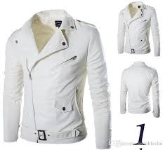 pu leather jacket coat men 2018 white color incline zipper turn down collar long sleeve motorcycle biker jackets canada 2019 from reliablechu