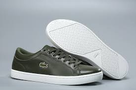 lacoste men s casual low leather shoes green white size 40 45