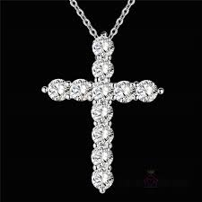 whole femme collier silver crystal cross pendant necklace 18 inch chains for women 925 jewelry bijoux gifts for friends drop diamond pendants