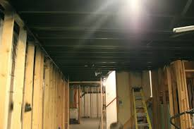 painted basement ceiling ideas. Finished Basement Black Painted Ceiling Home Design Ideas