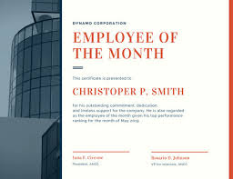 Employee Of The Month Free Online Employee Of The Month Certificates Templates Free