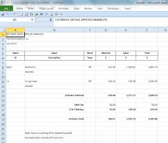 sample report screen estimate with markups