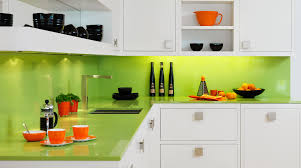 Luxury L Shaped Kitchen Cabinet In White Come With Green Lime Marble  Countertop Top And Backsplash