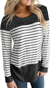 Vemvan Womens Long <b>Sleeve</b> Round Neck T Shirts <b>Color Block</b> ...