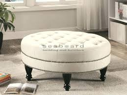 dress up your living room with this classic coaster round oatmeal linen tufted ottoman coffee table