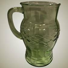 gorgeous vintage optic criss cross green depression glass pitcher new jersey nancy s antiques ruby lane