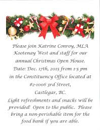Christmas Open House Invitation Christmas Open House Invitation Mla Katrine Conroy Village Of