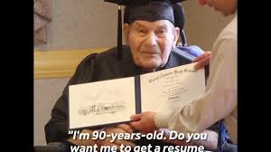 year old man receives his high school diploma  90 year old man receives his high school diploma
