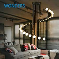 high ceiling light fixtures loft modern pendant light iron minimalist spiral staircase lamp drop lighting fixture
