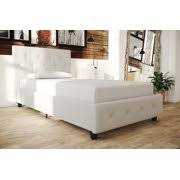 DHP Dakota Upholstered Faux Leather Platform Bed with Wooden Slat Support and Tufted Headboard Footboard King Size Frame