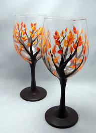 Wine Glass Decorating Designs Hand Painted Fall Leaf Wine Glass by ElegantlyHaunted on Etsy 3