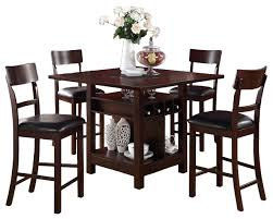 dining table set with lazy susan. rosy brown 5-piece counter height set square table lazy susan wine storage modern- dining with