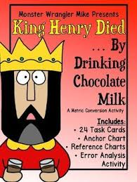 King Henry Died Drinking Chocolate Milk Chart Metric Conversion Activity King Henry Died By Drinking