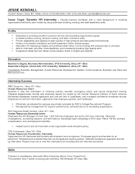 Hr Intern Resume Resumes Internship Cv Sample Human Resources