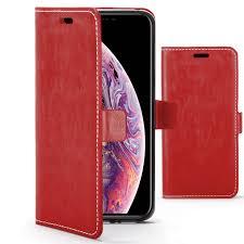 forefront cases apple iphone xs max premium handmade pu leather case cover red