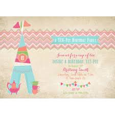 tee tea party glam cing gling birthday party printable invitation